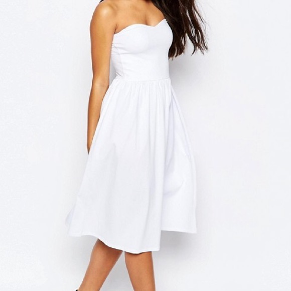 c6fc55141b2a NWT Asos Bandeau Midi Sundress in White